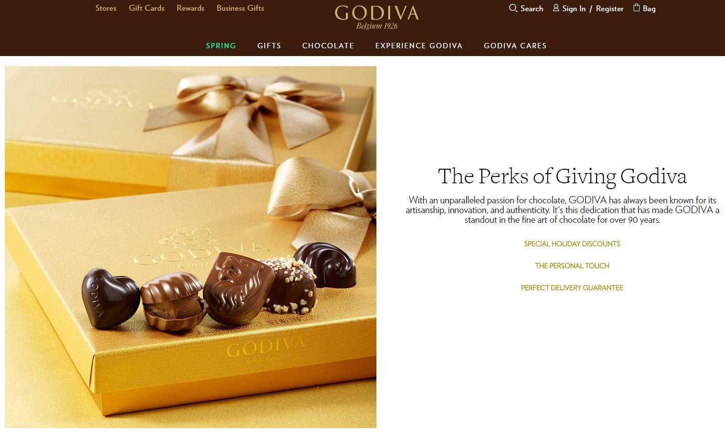 Godiva. B2C Contextual customer experience