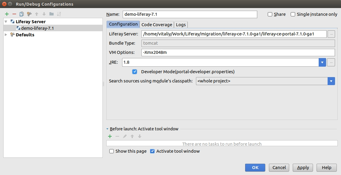 Liferay server configuration in IDE