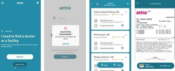 Interface of Aetna healthcare mobile app developed for iOS platform