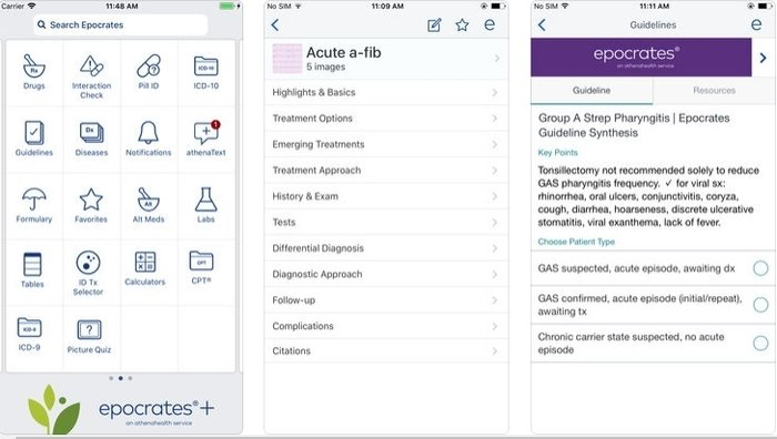 Interface of Epocrates medical app developed for iOS platform