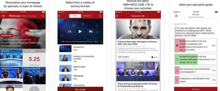 Interface of Medscape CME & Educational medical app developed for iOS platform