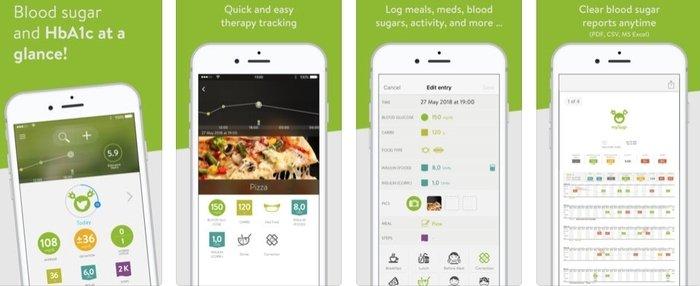 Interface of mySugr healthcare mobile app developed for iOS platform