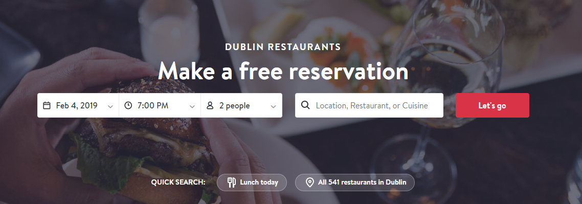 Restaurant booking website