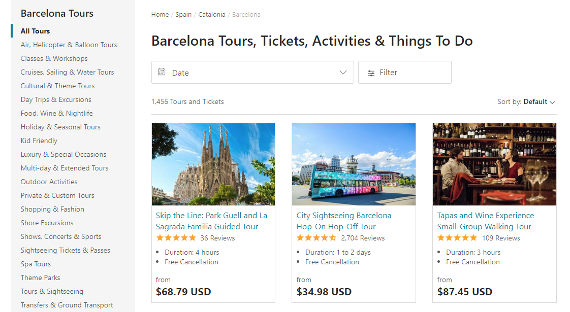 Tours and activities website