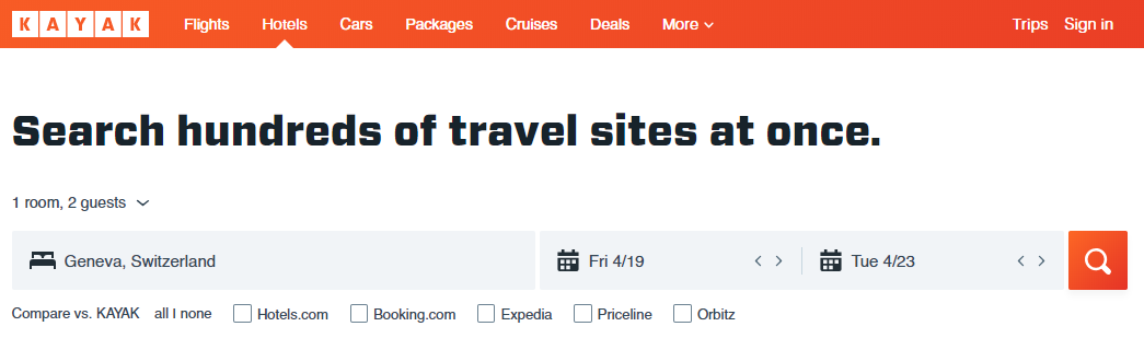 Travel metasearch engine