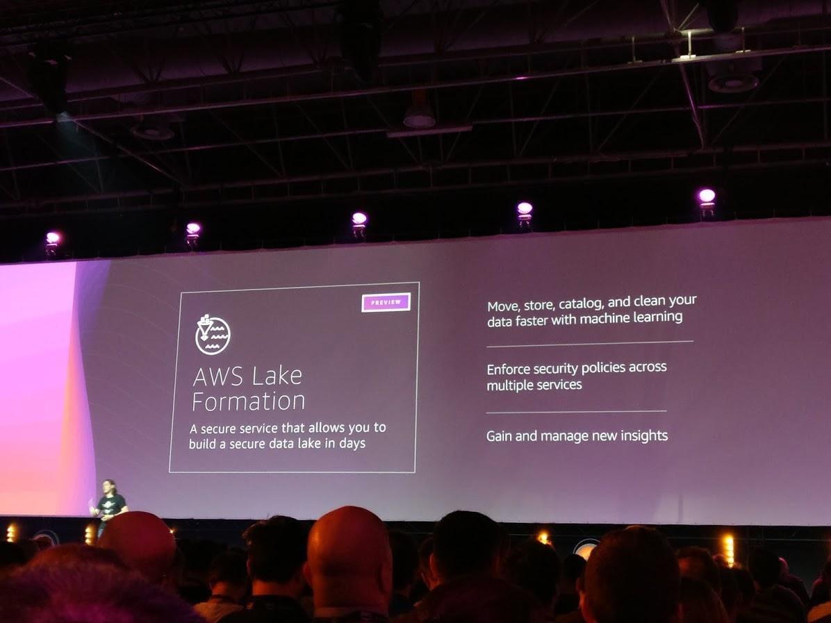 Capture of the slide showcasing AWS capabilities for data management