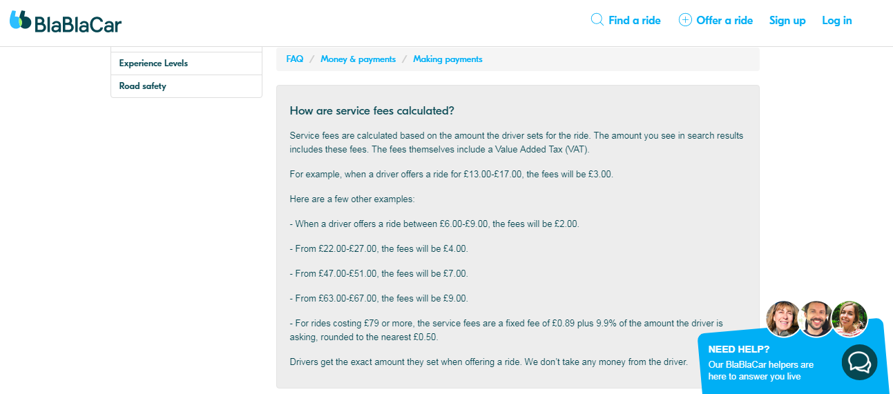 BlaBlaCar fee model in the UK