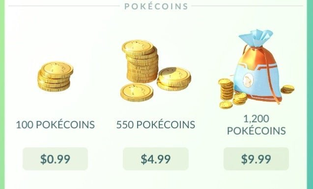 Pokémon Go in-game purchases.