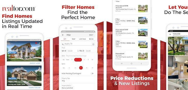 Interface of Realtor.com app for Android