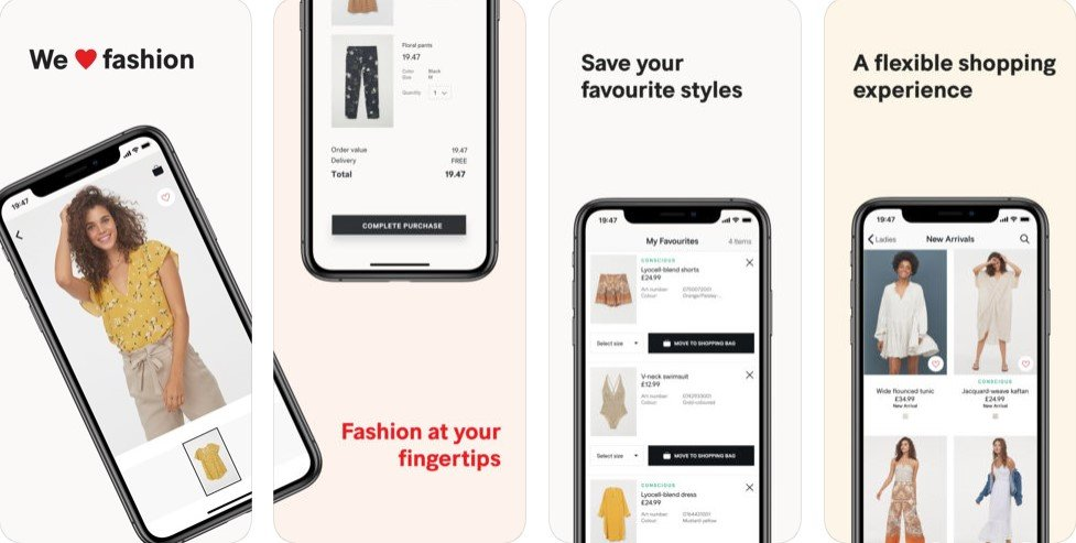 Interface of H&M for iOS