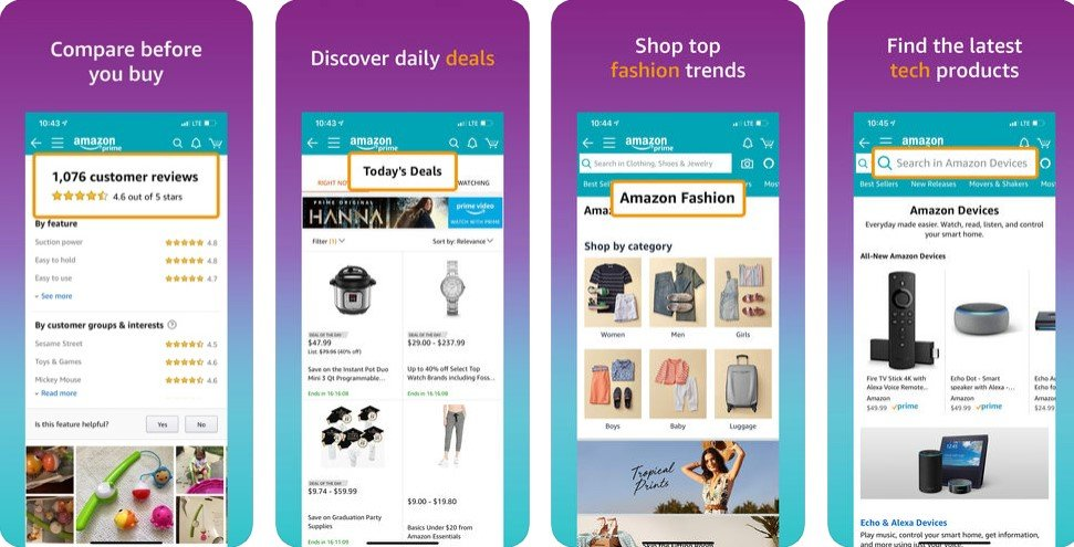 Interface of e-commerce Amazon app
