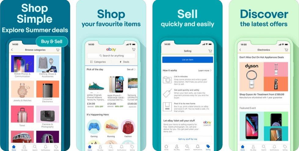Interface of eBay ecommerce app