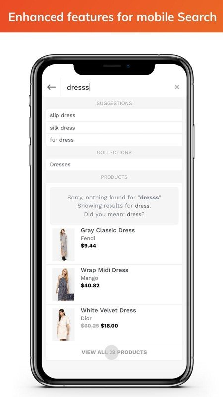 Search and filter features in ecommerce app