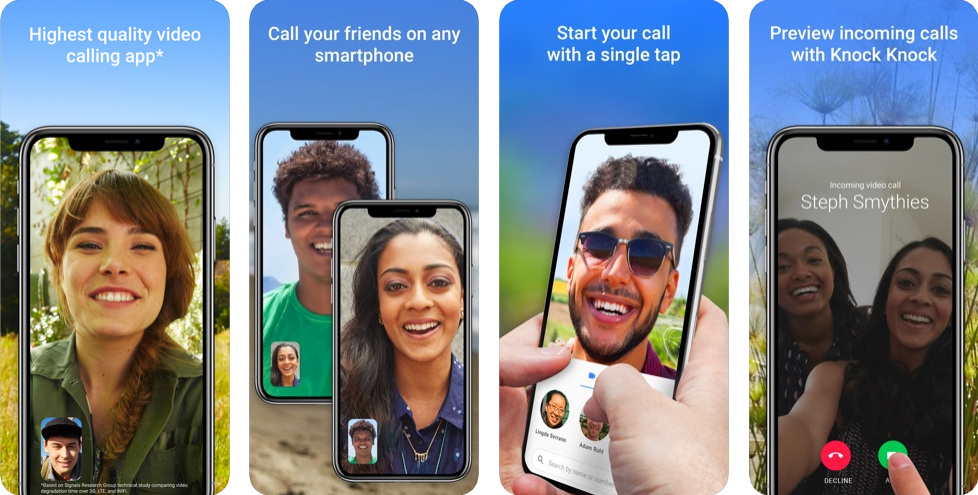 Google Duo interface for iOS