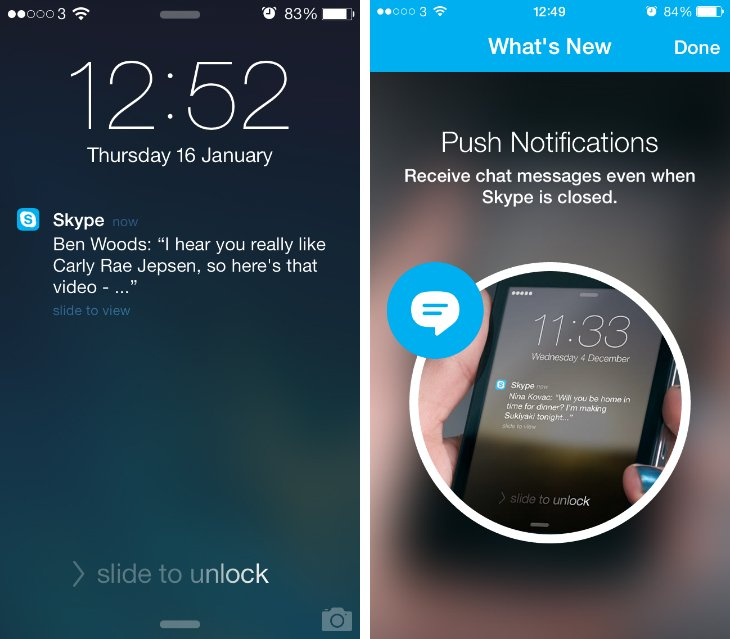 Push notifications in Skype