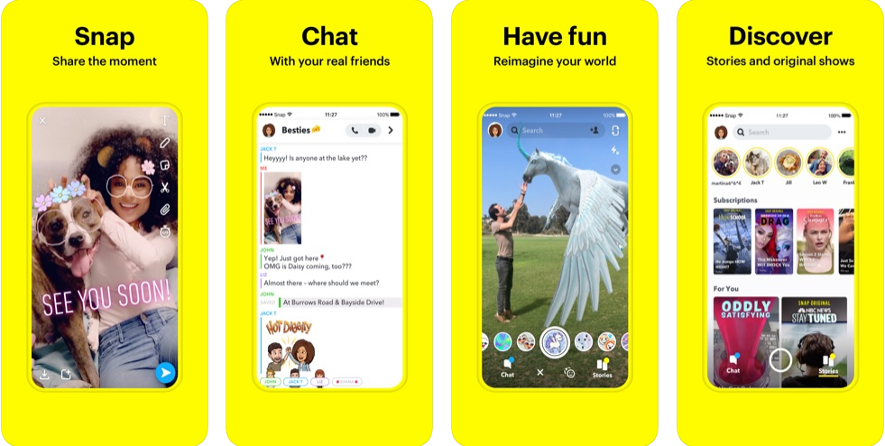 Snapchat interface for iOS