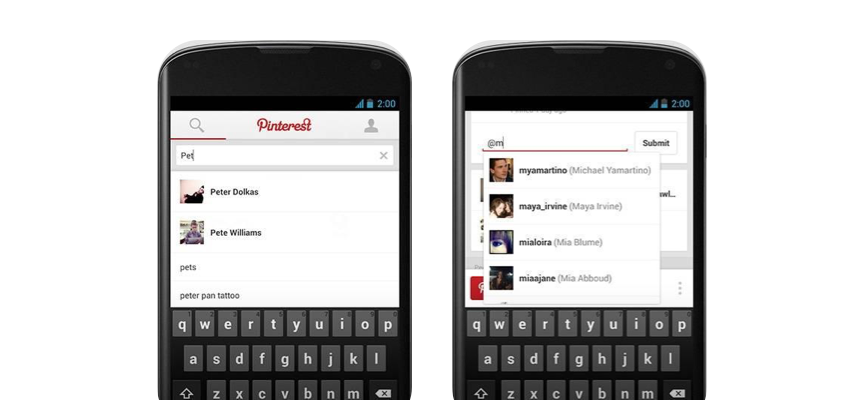 Pinterest search feature on Android