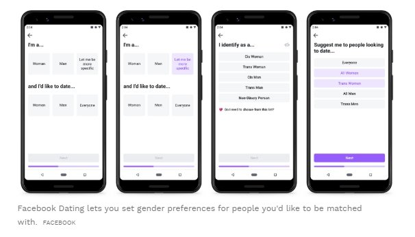 """Choose your gender option"" on Facebook dating"