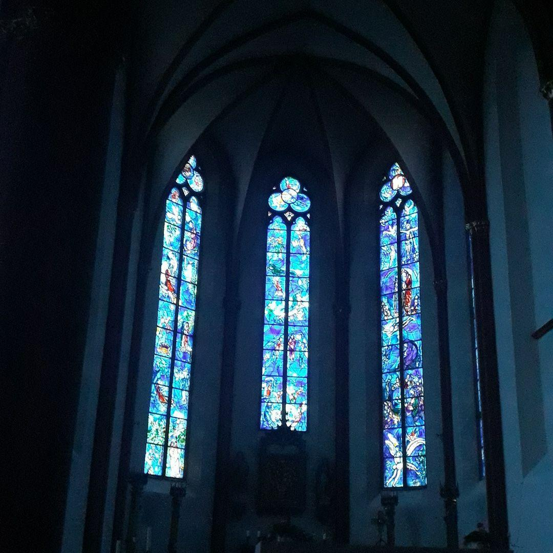 Blue stained-glass windows designed by Marc Shagall at St. Stephan cathedral