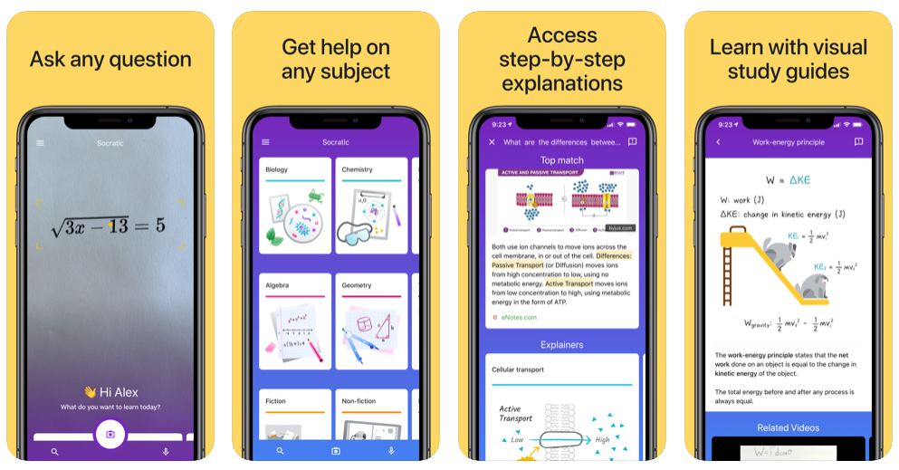 Example of Socratic app powered by Google AI