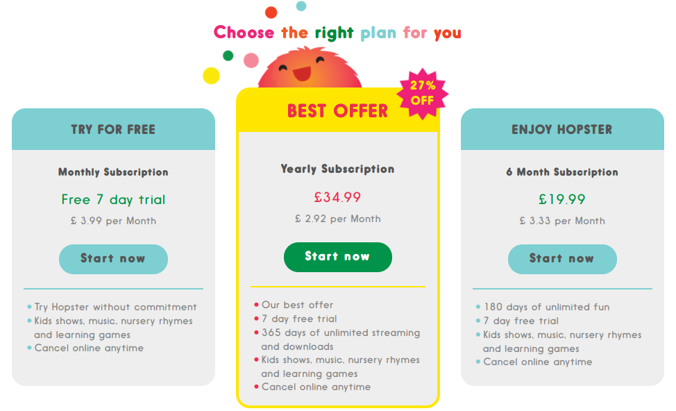 Subscription plans in the Hopster educational application