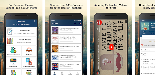 Screenshots of EduRev educational application for Android