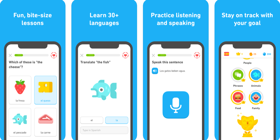 Screenshots of Duolingo educational application for iOS