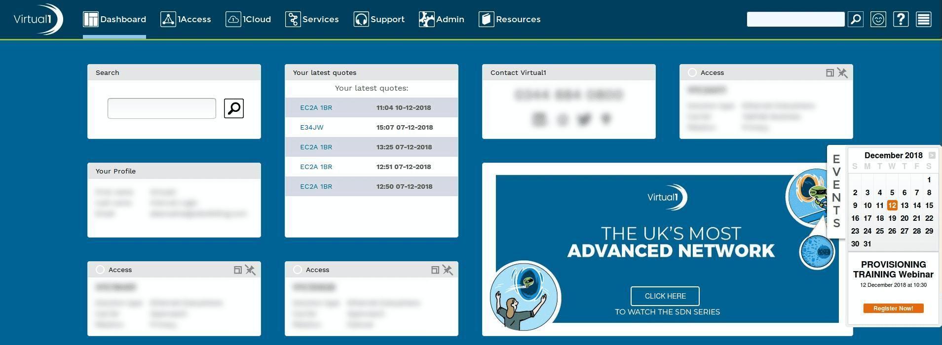 Screenshot of Virtual1 interface