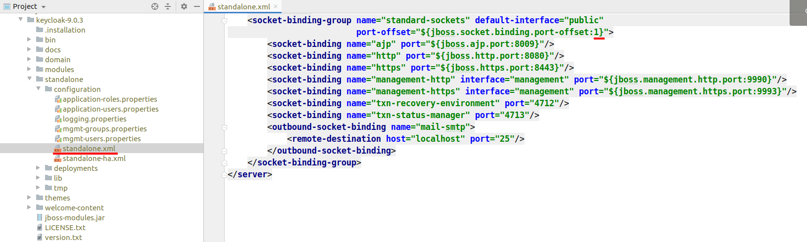 Keycloak default port change