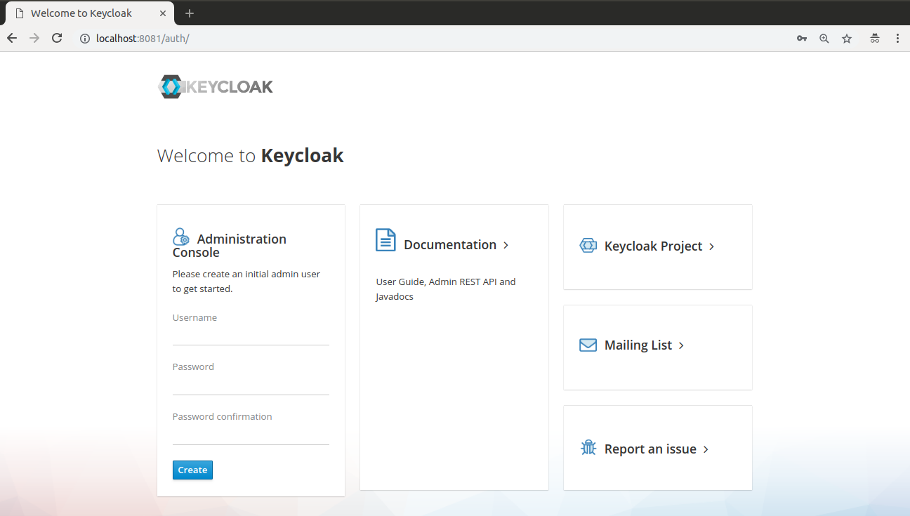 Keycloak Welcome page