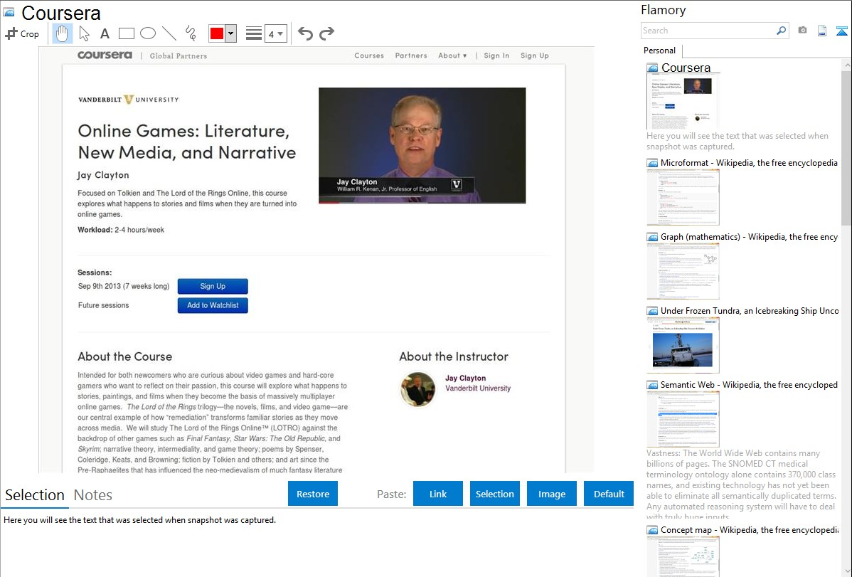 Interface of the e-learning platform Coursera