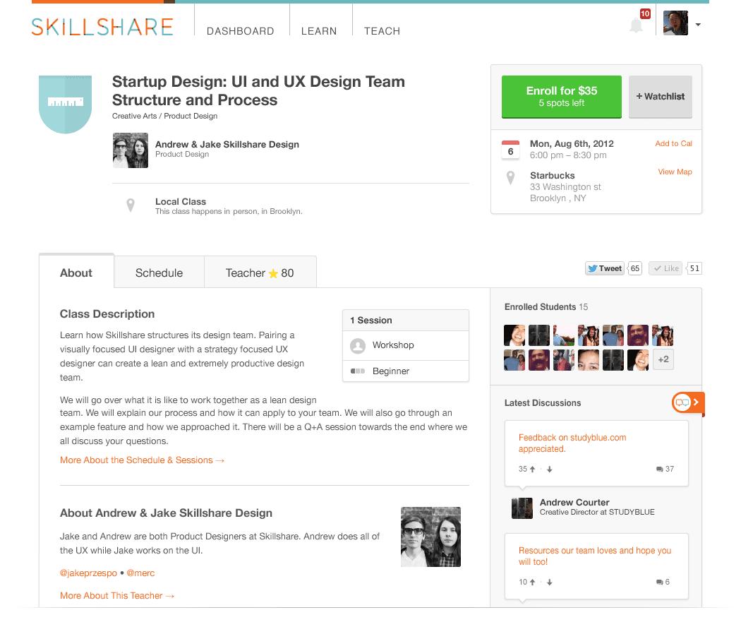 Interface of the online learning platform Skillshare