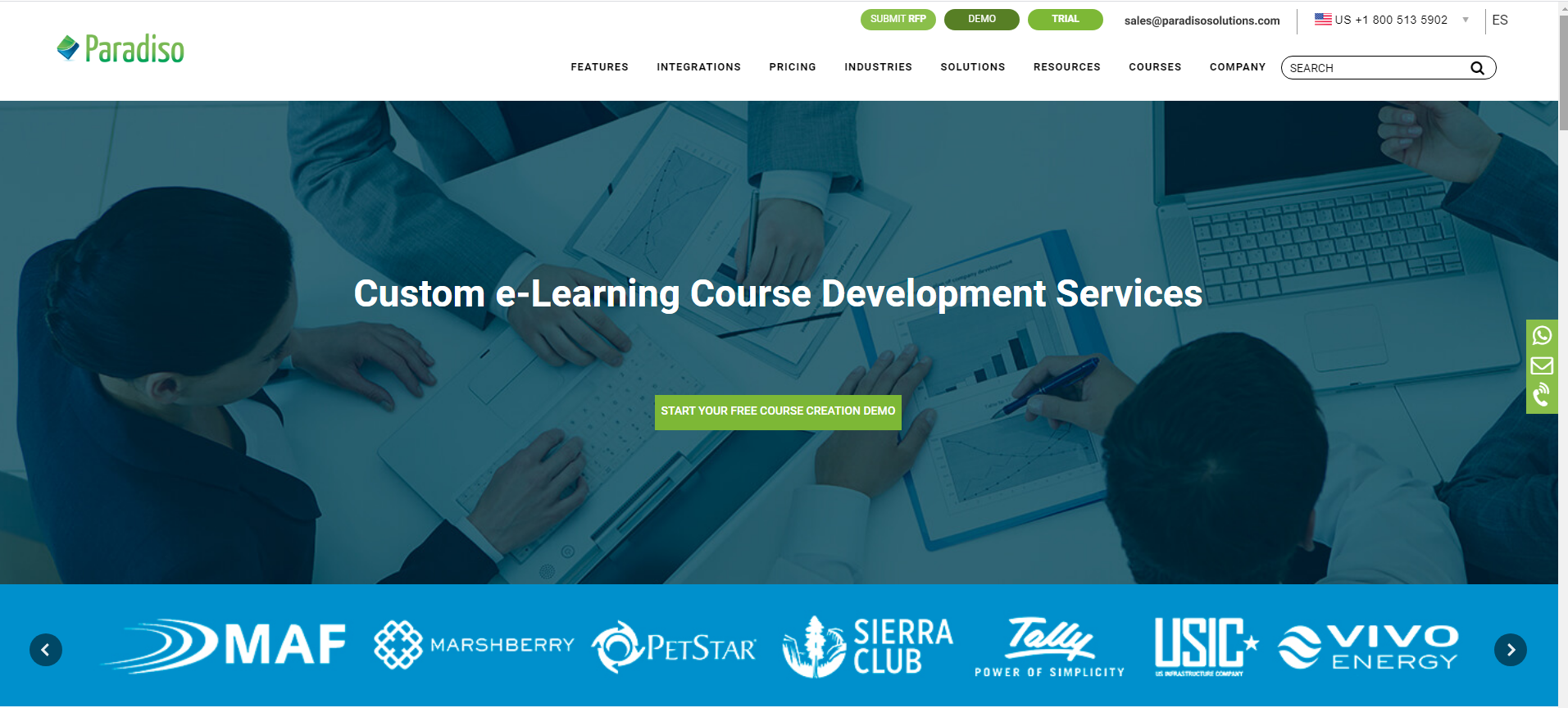 Example of white-label solution for custom e-learning website creation
