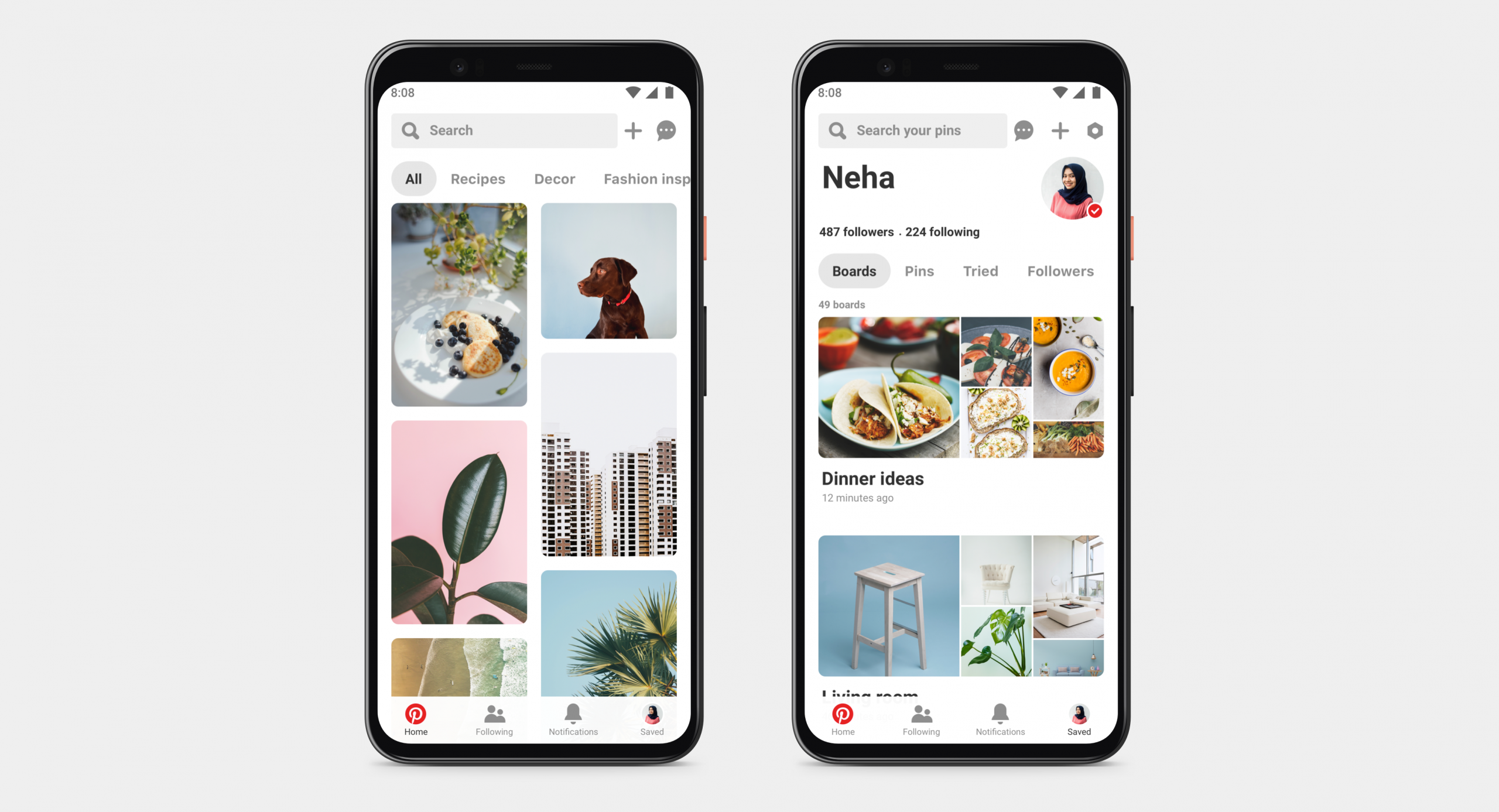 Example of Pinterest's mobile design