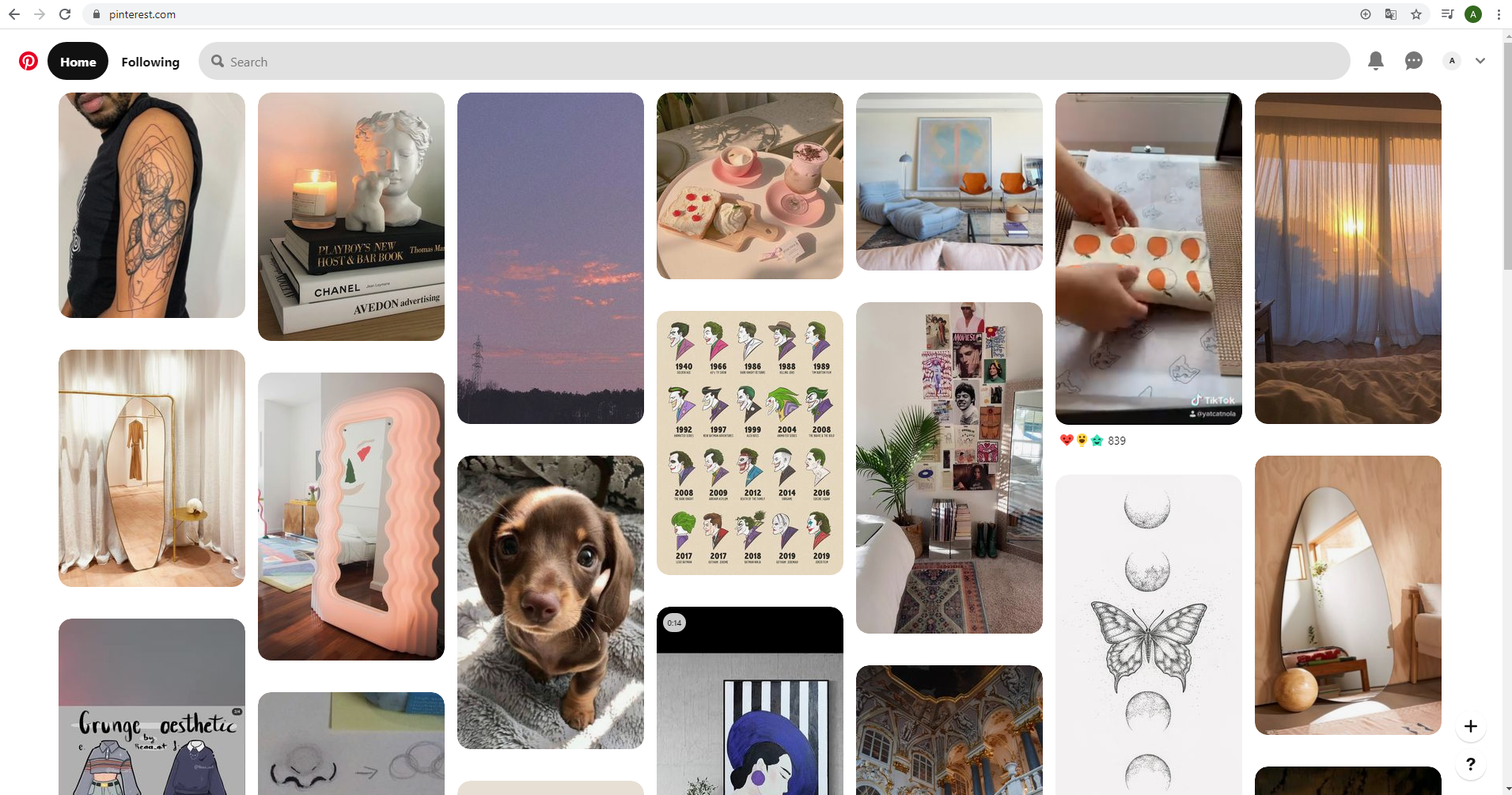 What a Pinterest's website newsfeed looks like
