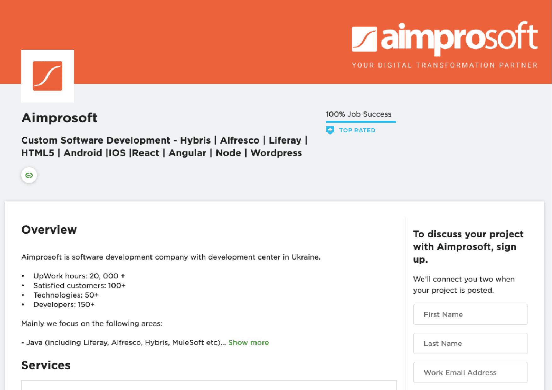 Aimprosoft's profile on Upwork